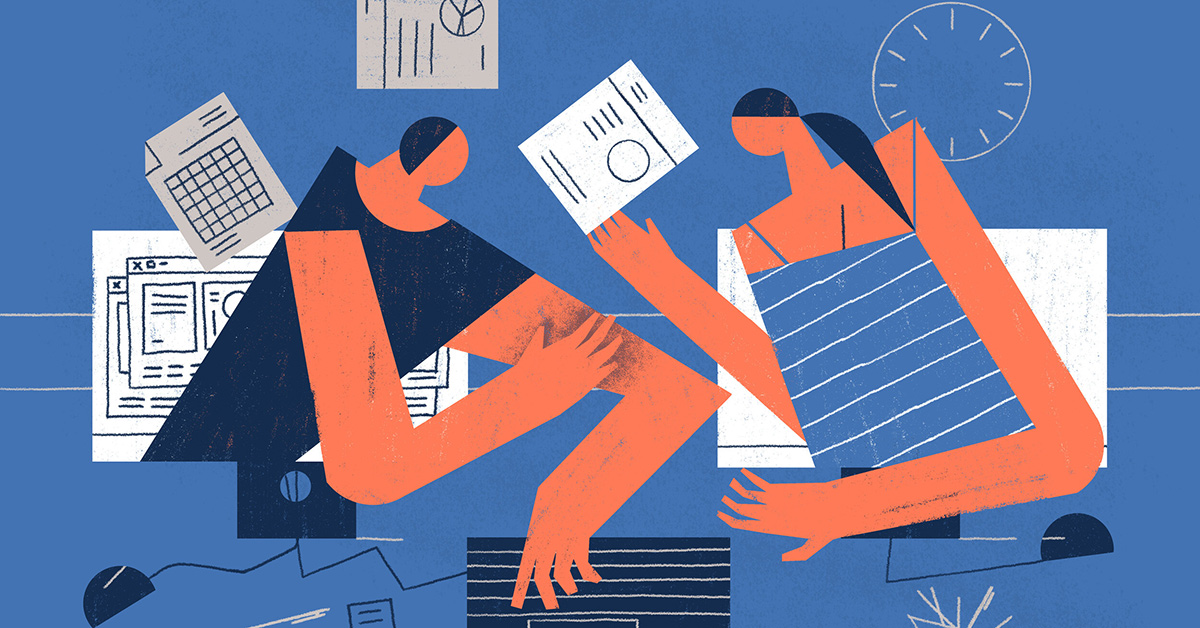 People illustrated working from home