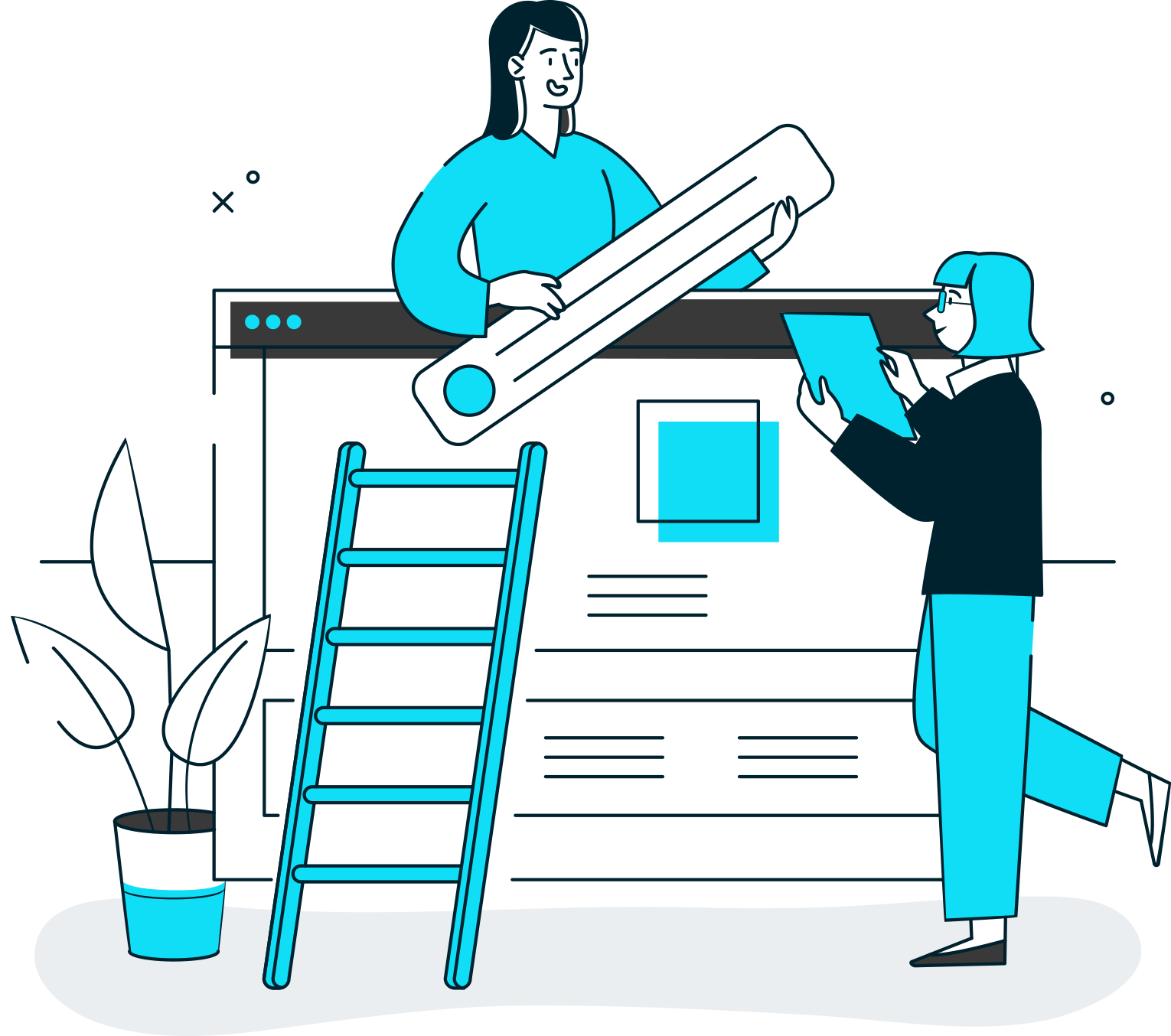 Illustration Depicting Two Women Strategizing The Layout of a Website