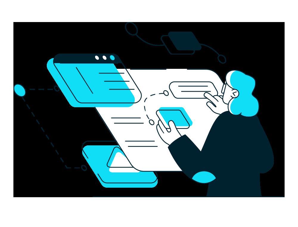 Illustration Depicting Designing and Writing Website Copy